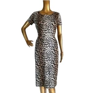 Leopard Animal Print Sexy Fitted Cutout Back Dress